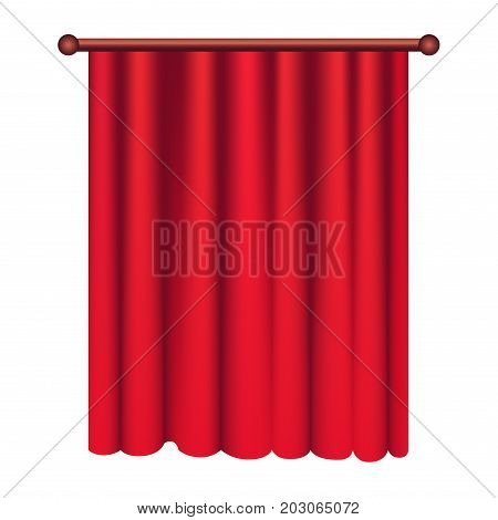 Long silk red theater curtain hangs on cornice on white background. Luxury scarlet silk curtain on curtain-rod. Theatre, banquet and concert hall decoration icon isolated vector illustration.