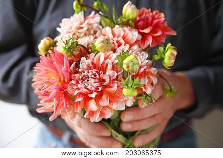 A man holds a bunch of fresh coral and white-colored dahlias