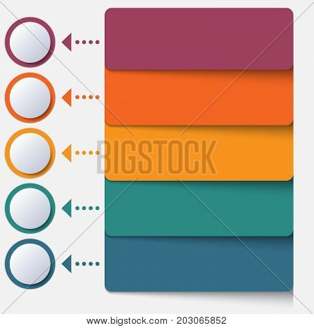 Template infographic color strips for 5 positions