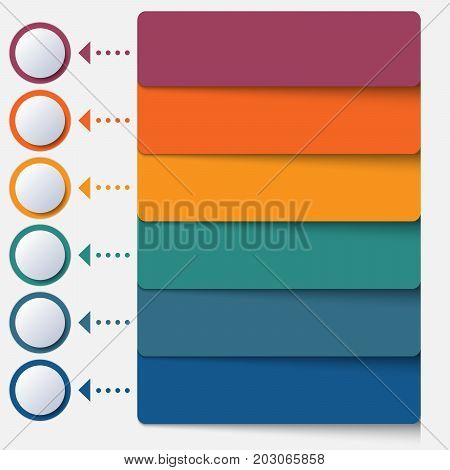 Template infographic color strips for 6 positions