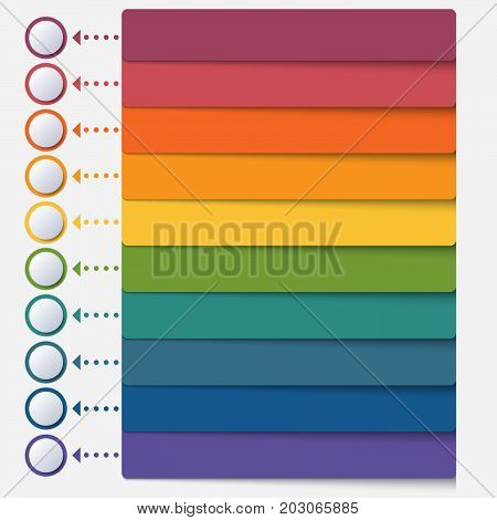 Template infographic color strips for 10 positions