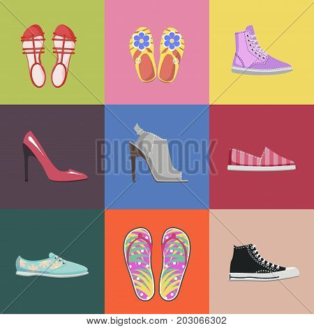 Fashionable women shoes collection on colorful background. Summer sandals, stylish stilletos, comfortable sneakers, bright espadrilles, elegant mules and light filp-flops vector illustrations.