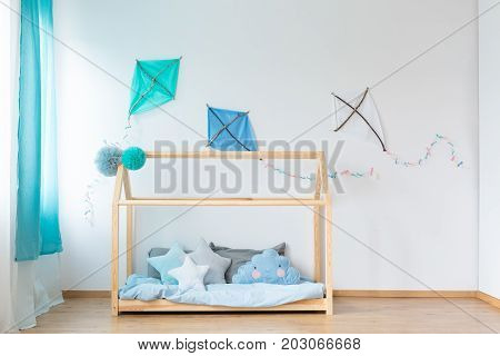 Bed With Star Shaped Pillows