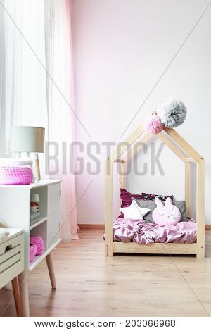 Pink Bedroom With Handmade Bed