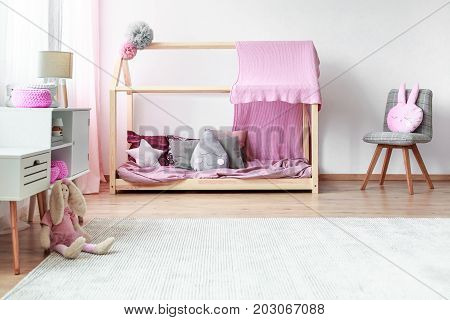 Grey And Pink Girls Bedroom