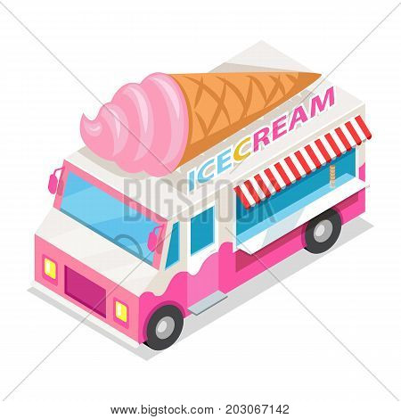 Ice cream truck in isometric projection style design icon. Street fast food concept. Food trolley with ice cream cone illustration. Isolated on white background. Ice cream mobile shop. Vector
