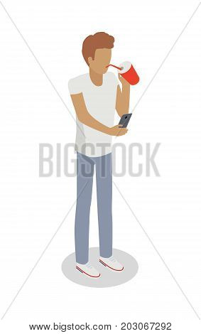 Isolated faceless boy drinks something from red covered glass through sipper and searches information in smartphone. Vector illustration of young male person in white t-shirt and grey trousers