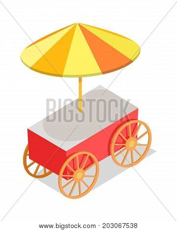 Street food red trolley with umbrella isolated on white background. Fast way to have a snack in big city. Urban street element vector illustration. Hotdog or hamburger, sandwich right on street.