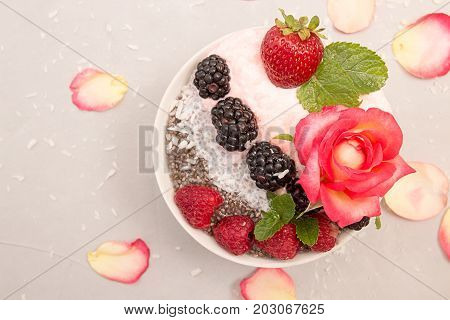 Chia Pudding With Berries. Overhead Dessert With Chia, Raspberry, Blueberry, Strawberry And Whipped