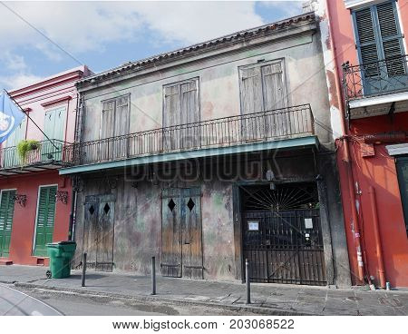NEW ORLEANS, LOUISIANA--JANUARY 2017: Old buildings with balconies and iron railings at the French Quarter in New Orleans, Lousiana