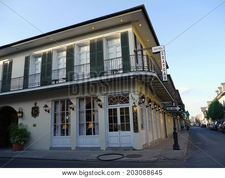 NEW ORLEANS, LOUISIANA--Hotel Chateau at the corner of St. Philip Street at the French Quarter, New Orleans early one morning in December 2016.