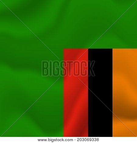 Zambia waving flag. Waving flag. Vector illustration.