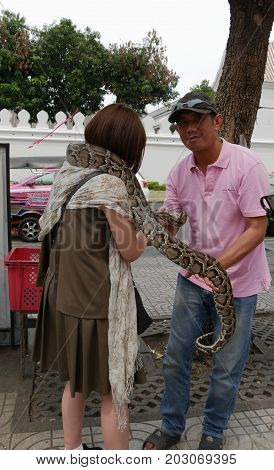 BANGKOK, THAILAND--MARCH 2016: A man lets a female tourist hold his pet boa constrictor at the streetside for picture taking for a fee in Bangkok, Thailand.