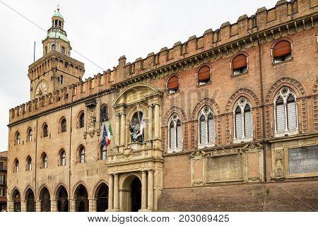 Palazzo Comunale in Piazza Maggiore square in Bologna Italy