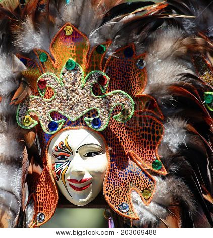 Festival masks are always on sale at the streets at the Kadayawan Festival in Davao City, Philippines in August each year.