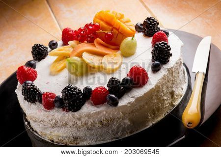 cake with mixed fruit and whipped cream