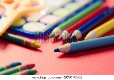 Back To School Concept With Stationery And School Supplies