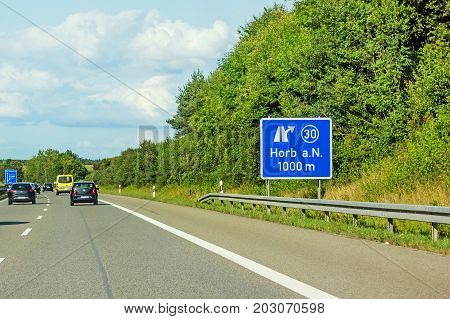 Freeway Road Signs On Autobahn A81 Showing Exit To Horb Am Neckar