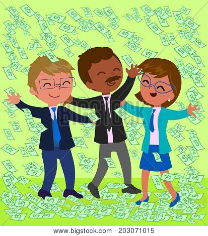 Rich business teamwork with a lot of dollar notes on green background, vector illustration