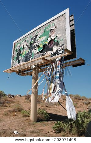 Billboard damaged by high winds  (identifying marks removed)