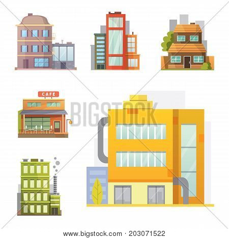 Flat design of retro and modern city houses. Old buildings, skyscrapers. colorful cottage building, cafe house