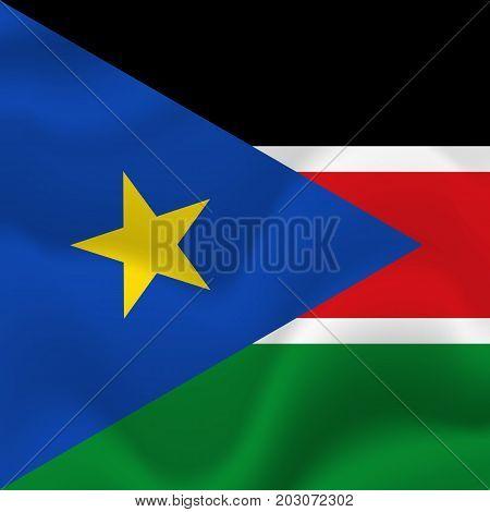 South Sudan waving flag. Waving flag. Vector illustration.