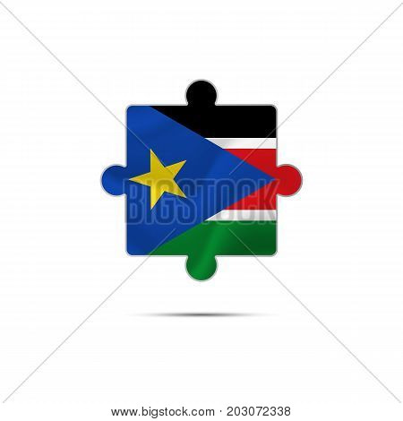 Isolated piece of puzzle with the South Sudan flag. Vector illustration.