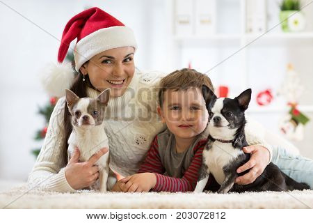 Happy family Christmas. Mother son and dogs celebrating winter holidays at home.