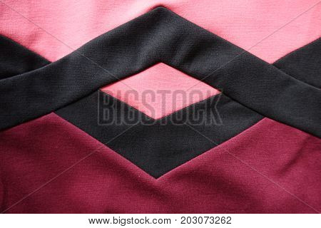 Black Rhomb Stotched To Pink And Red Stockinet