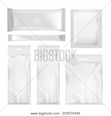 Set of transparent and white blank foil bag packaging for food, snack, coffee, cocoa, sweets, crackers, chips, nuts, sugar. Vector plastic pack mock up for your design