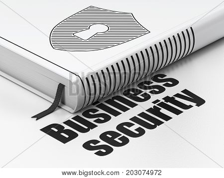 Privacy concept: closed book with Black Shield With Keyhole icon and text Business Security on floor, white background, 3D rendering