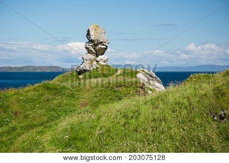 North Irealand, Antrim coast, interesting rock formation next to the sea