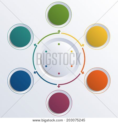 Template infographic color circles round circle for 6 positions