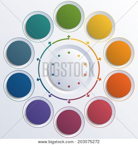 Template infographic color circles round circle for 10 positions