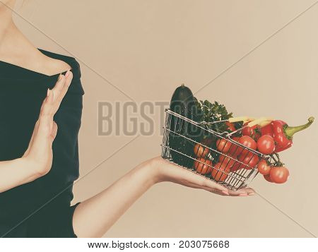 Woman With Vegetables, Stop Gesture