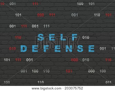 Protection concept: Painted blue text Self Defense on Black Brick wall background with Binary Code