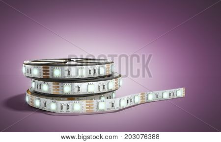 Diode Strip Led Lights Tape In Holder Close-up 3D Render On Darck