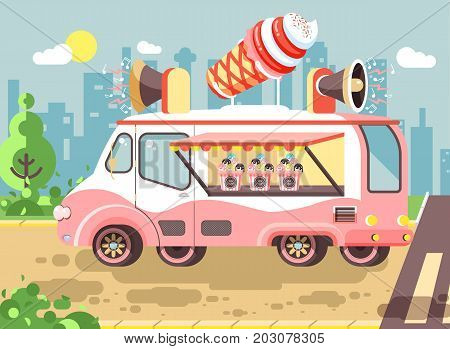 Stock vector illustration cartoon car with refrigeration unit, truck for sale and manufacture ice cream, vanilla, chocolate, popsicles, city meals on wheels, street food, sweet snack in flat style