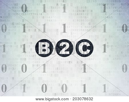 Finance concept: Painted black text B2c on Digital Data Paper background with Binary Code