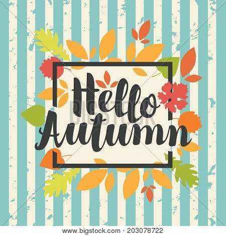 Vector banner with the inscription Hello Autumn. Can be used for flyers banners or posters. Vector illustration with colorful autumn leaves on the striped background in grunge style