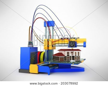 3D Printer Printing House On Gray Background