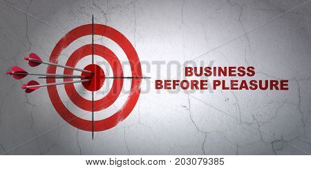 Success finance concept: arrows hitting the center of target, Red Business Before pleasure on wall background, 3D rendering