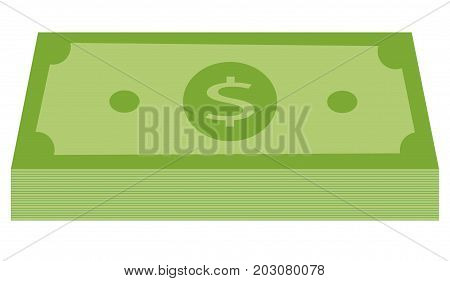 green stack of money icon. money icon in flat style. dollar icon. green dollar stack on white background.