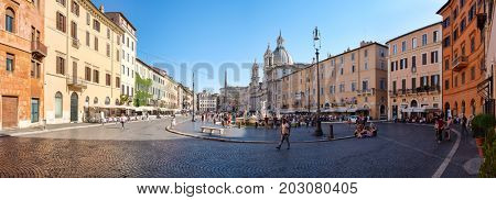 ROME,ITALY - JULY 17,2017 : Piazza Navona in central Rome