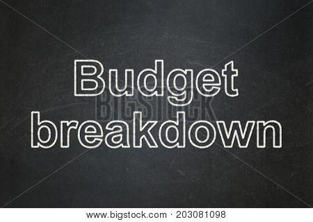 Finance concept: text Budget Breakdown on Black chalkboard background