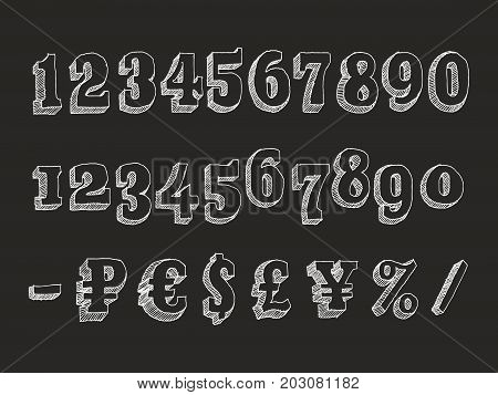 Retro serif font Part 3 of 3. Vector hand drawn chalk doodle with hatching isolated on black background numbers and money signs dollar, pound sterling, euro, ruble and the yen