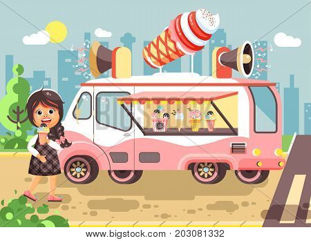 Stock vector illustration cartoon character child pupil schoolgirl lonely brunette girl buy eat ice cream, vanilla, chocolate, popsicles from car, meals on wheels, street food, school snack flat style