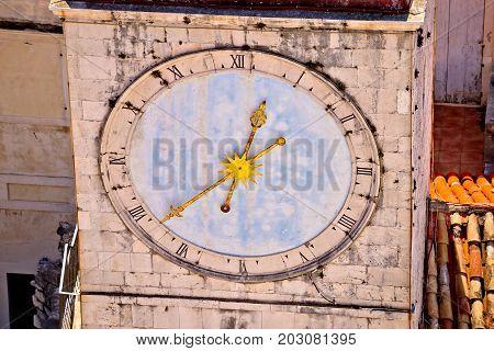 Town Of Trogir Main Square Clock Tower Closeup View