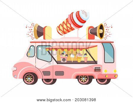 Stock vector illustration isolated car with refrigeration unit, truck for sale and manufacture ice cream, vanilla, chocolate, popsicles, meals on wheels, street food flat style on white background