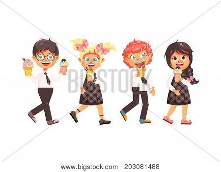 Stock vector illustration cartoon isolated characters children, pupils, schoolboys, schoolgirls eat ice cream, vanilla, chocolate, popsicles meals, sweet food, school snack flat style white background